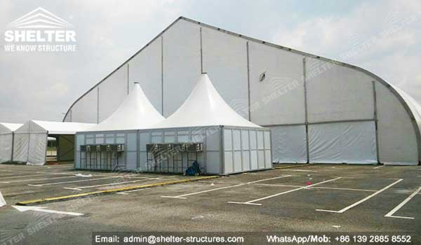 Rapid Deployment Shelter : Sunshade building for private jet hangar modular