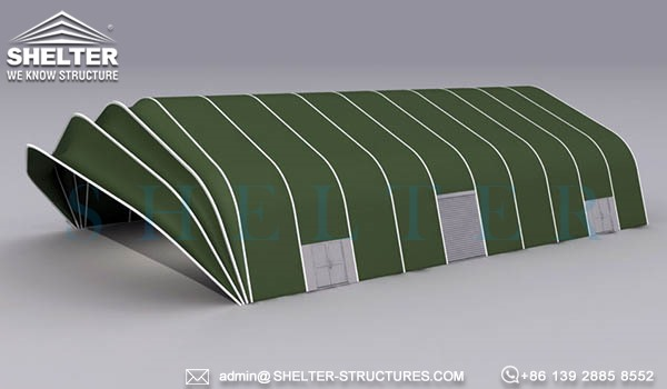 military army navy hangar buildings-military fighter hangar structures with hoist up fabric clamshell door